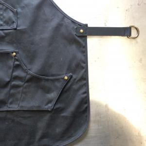 shop apron, work wear, apron, waxed canvas, leather, brass